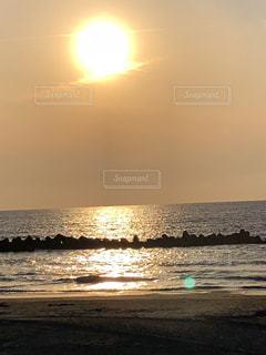 自然,海,空,夏,夕日,屋外,赤,浜辺,山形,日本海,インスタ映え