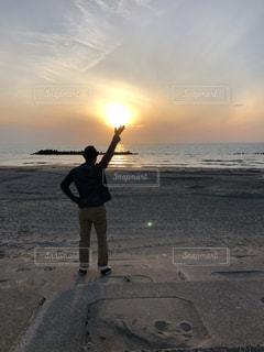 自然,海,空,夏,夕日,屋外,赤,浜辺,山形,日本海,元気玉,インスタ映え