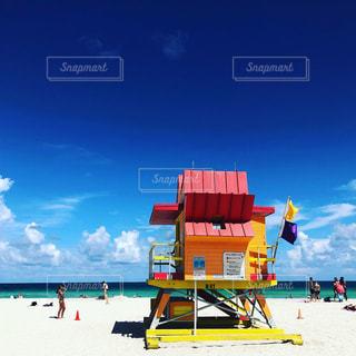 海,夏,ピンク,青空,砂浜,pink,マイアミビーチ,Miami beach,ライフガードスタンドコレクション,Lifeguard stands collection