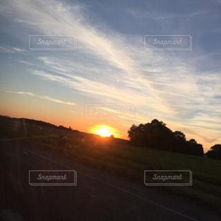 フランス,夕陽,秋空