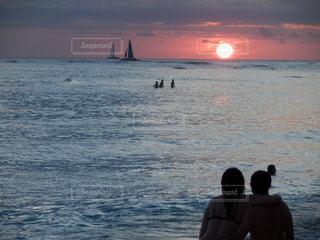 空,夕日,ビーチ,旅行,ハワイ,リゾート,サンセット