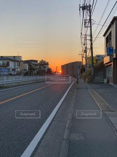 風景,空,夕日,道路,道,歩道,夕陽