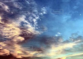 空,夏,夜,夕焼け,月,蒼,酷暑の後,cobalt