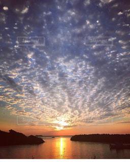 海,空,夕日,雲,夕陽,サンセット,島根県