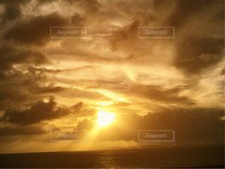 海,空,夕日,雲,沖縄,オレンジ,夕陽,サンセット