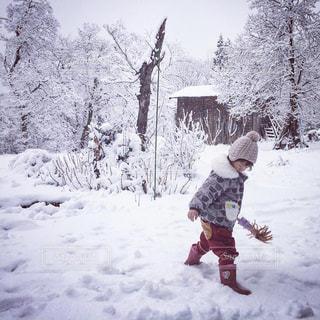 雪の中で立っている女の子の写真・画像素材[1737715]