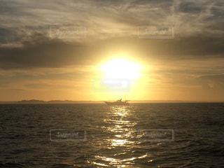 海,夕日,船,オレンジ,釣り
