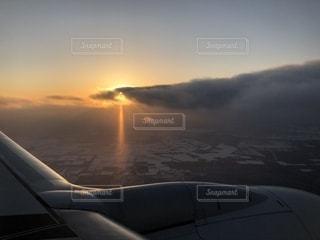 空,綺麗,夕焼け,飛行機,景色