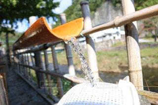 夏,屋外,水,水滴,竹,水玉,雫,山梨,しずく,流しそうめん,流水
