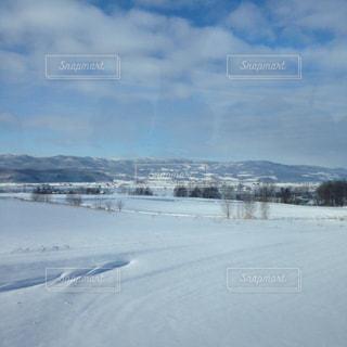 青空と雪,雪の北海道,雪の斜面