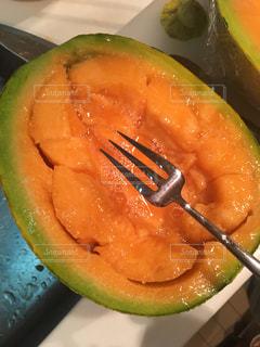 食べ物,オレンジ,フォーク,果物,メロン,果実,美味しい,グリーン,食材,夕張メロン