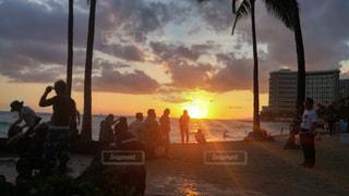 夕日,ビーチ,光,ハワイ,サンセット