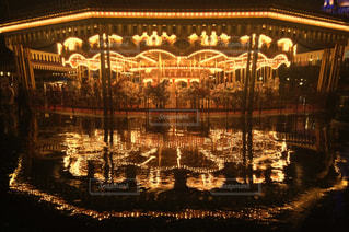 夜,雨,ライト,反射,遊園地,メリーゴーランド