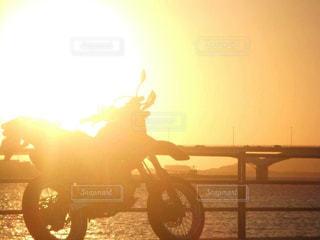 海,夕日,バイク,夕陽,夕陽夕日