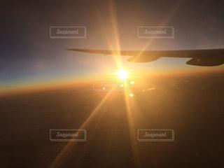 夕日,夕焼け,飛行機,美しい,旅,キレイ,始まり