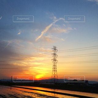 自然,空,夕日,夕焼け,田舎,鉄塔,夕陽