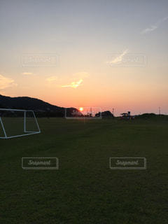 自然,空,夏,夕日,サッカー,夕陽