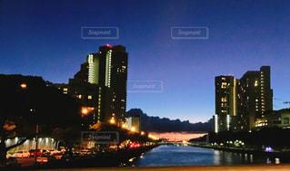 海,空,建物,夜,屋外,夕暮れ,ハワイ