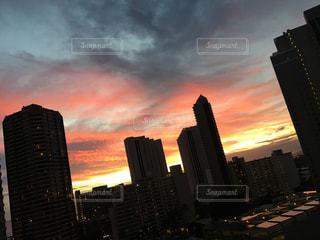 空,建物,夜,屋外,夕暮れ,都会,高層ビル,ハワイ