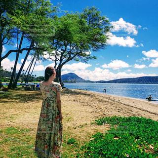 女性,風景,海,空,公園,屋外,雲,アメリカ,山,樹木,歩道,地面,草木,フォトジェニック