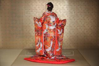 鶴の模様の色打掛の写真・画像素材[1237203]