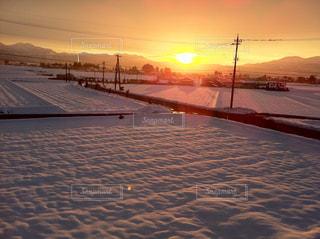 空,夕日,雪,田舎,山,田んぼ