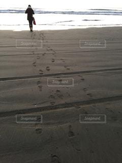 大好きな広い砂浜で朝日にお願い!の写真・画像素材[1397976]