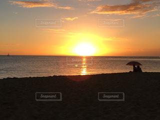 風景,海,空,夕日,ビーチ,美しい,ハワイ,ワイキキ,サンセット