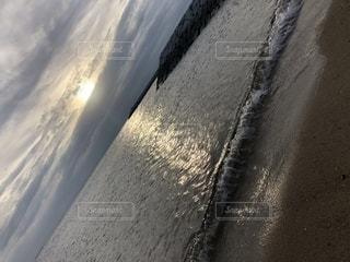 自然,海,夕日,屋外,景色,景観