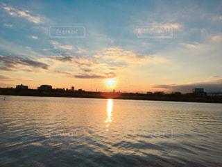 空,夕日,水面,夕陽