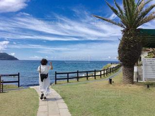 海,空,夏,屋外,後ろ姿,海岸,女の子,人物,人,旅行,福岡,糸島