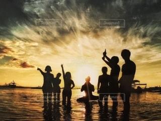 海,夕日,逆光,フィリピン,友情,マラパスクア,語学研修