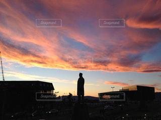 空,夕日,雲,夕焼け,北欧,アイスランド