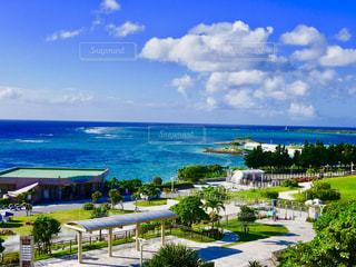 美ら海水族館から見えるエメラルドビーチの写真・画像素材[1424237]