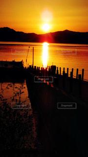 空,夕暮れ,秋田県田沢湖の夕日