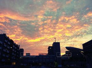 空,夕日,屋外,雲,夕暮れ,夕陽