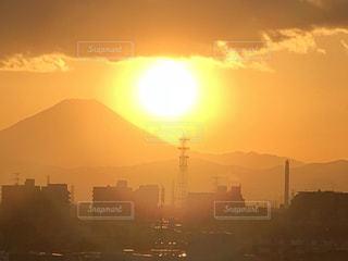 富士山,雲,夕陽