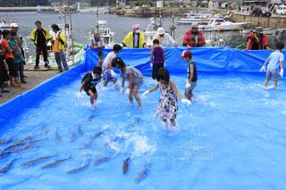祭りお友達皆んなと魚のつかみ取り🐟の写真・画像素材[1321891]