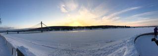 橋,雪,川,雪景色,朝,日の出,フィンランド