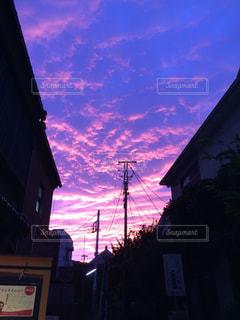 夕焼け,夕暮れ,梅雨,晴れ間,ピンクの空