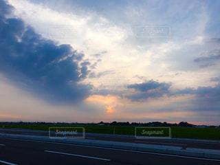 散歩,田園,田,夕陽,新潟