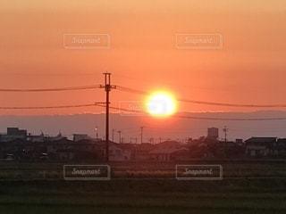 春,散歩,田園,田,夕陽,新潟