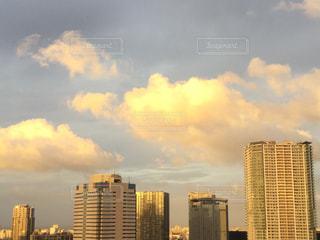 空,夕日,夕焼け,都会,夕陽,sunset,黄金