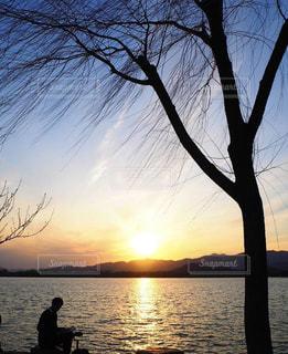 風景,公園,夕日,イケメン,湖,夕焼け,夕暮れ,読書,夕方,影,庭園,人,中国,黄昏,のんびり,北京,人影,頤和園,お兄さん