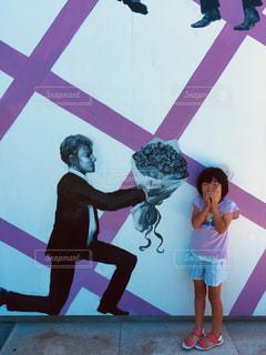 ピンク,花束,子供,想い出,告白,フォトジェニック,壁絵,紳士