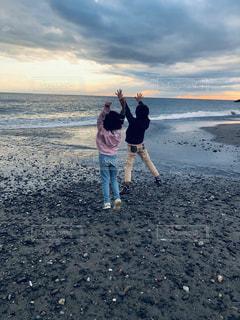 海,空,海岸,子供,夕陽,夢,万歳