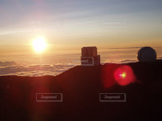 空,夕日,山頂,雲海
