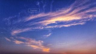 風景,空,屋外,雲,青,夕焼け,夕暮れ,夕方,景色,オレンジ,ブルー,夕景,ノスタルジック,コントラスト,郷愁