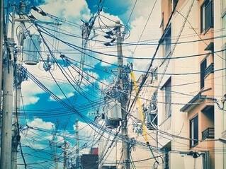 絡む電線•電柱の写真・画像素材[4009522]