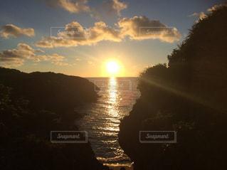 海,空,夕日,きれい,夕焼け,沖縄